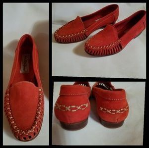 [Saks Fifth Avenue]Red Leather Suede 6.5 EUC